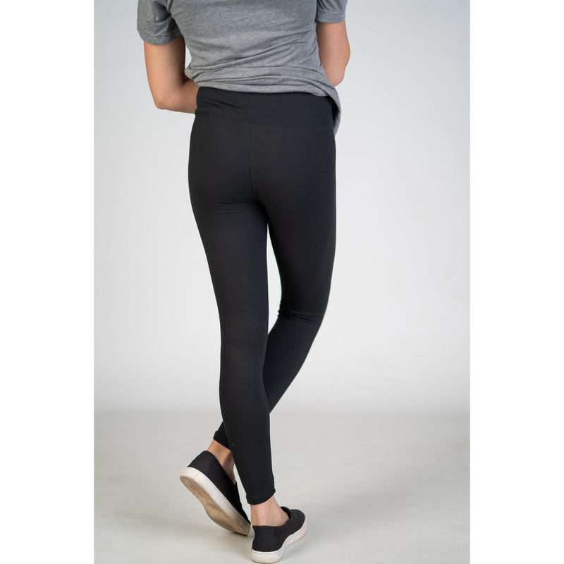 High Waist Yoga Band Leggings in PLUS (Black or Charcoal) - Texas Two Boutique