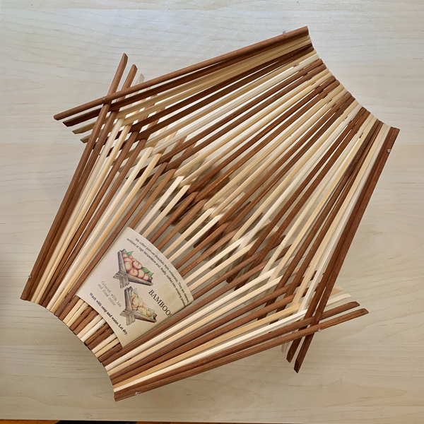 Chopstick Folding Basket - Large - Striped Natural & Dark Tea