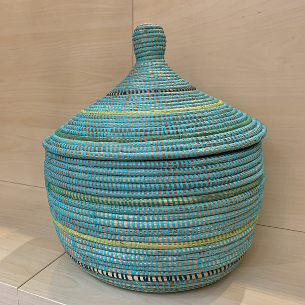 Blue-Green Warming Basket w/lid