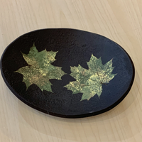Stoneware Oval Dish, Black with Two Green Leaves