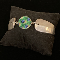 Silverware Magnetic Cuff with Peacock Stone