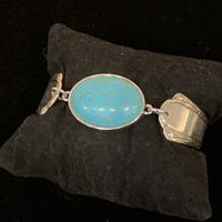 Silverware Magnetic Cuff with Blue Stone
