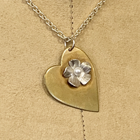 Brass Heart/Silver Flower with Pearl