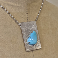 Silver Necklace with Teardrop Turquoise Stone