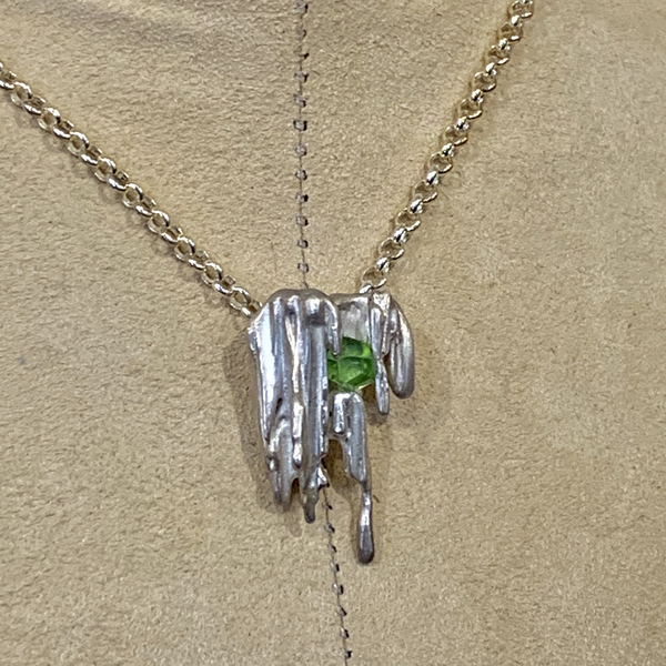 Silver Ice Necklace with Green Stone (#1)