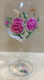 Red Wine Glass - Roses