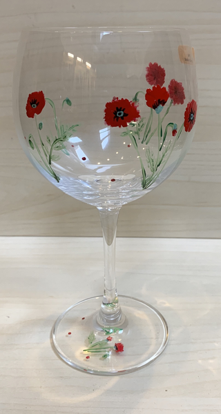 Red Wine Glass - Poppies