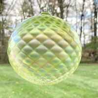 NEW ITEM - Faceted Glass Ornament - Lime Opaque