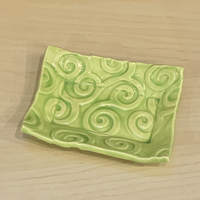 Soap Dish - Lime Green Vines