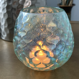 Faceted Glass Votive Holder - Aqua