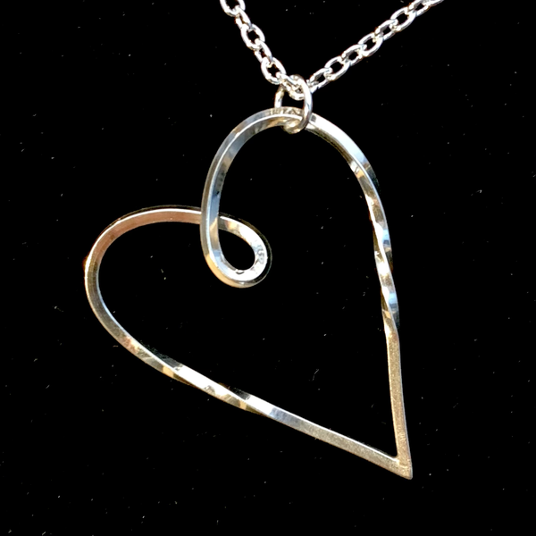 Silver Open Heart with a Twist Necklace