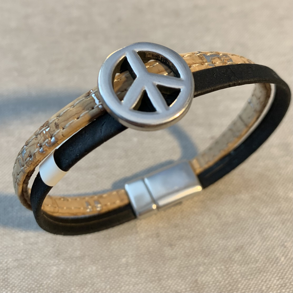 Cork Bracelet with Peace Sign