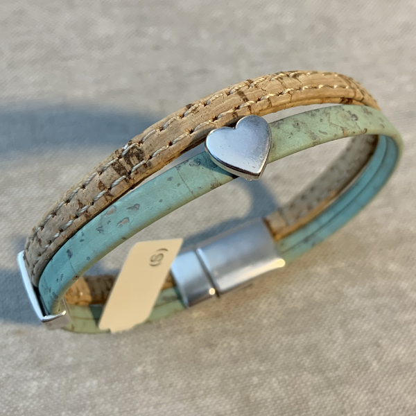 Cork Bracelet with Small Heart