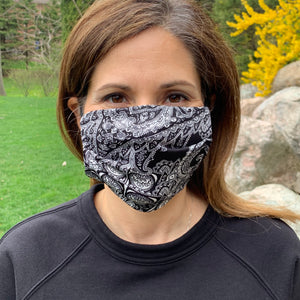 Black and White Bandana Women's Face Mask - Made in USA