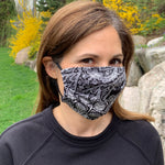 Load image into Gallery viewer, Black and White Bandana Women's Face Mask - Made in USA