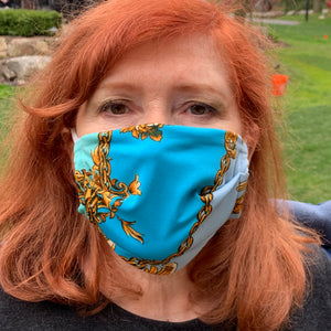 LIMITED EDITION Blue Versace Inspired Women's Face Mask - Made in USA