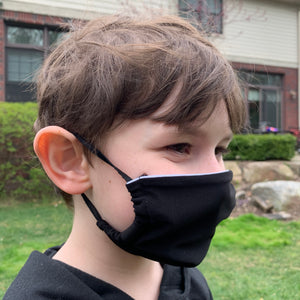 Solid Black Kid's Face Mask - Made in USA