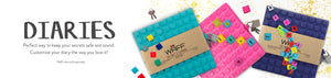 Colourful diaries in lego a like design with decorative cubes for the cover and lock for secret writting