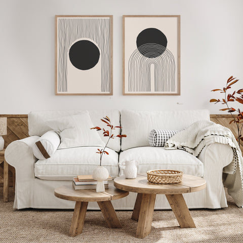 Framed Modern Minimalist Art Prints over a Couch