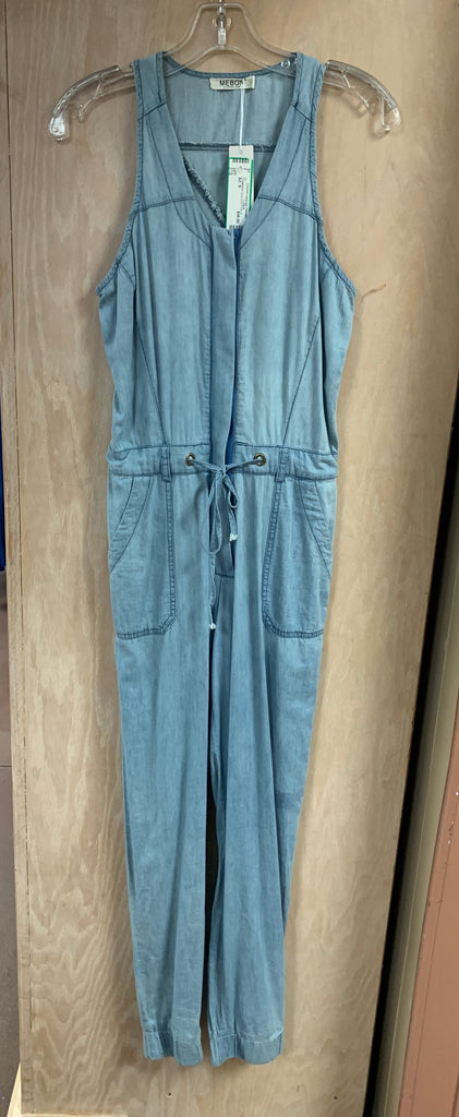 Chambray Sleeveless Zip Up Jumpsuit