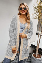 Knit Solid Open Front Loose Cardigan