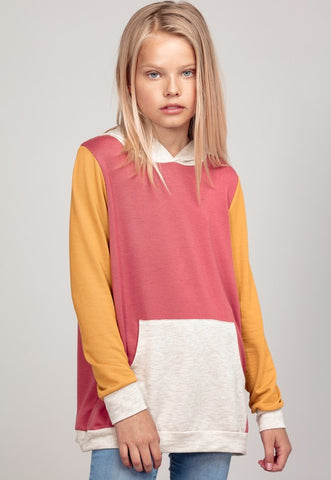 GIRLS French Terry Color Block Hoodie with Front Pocket