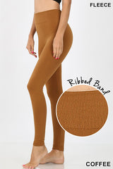 RIBBED WAIST BAND FLEECE SEAMLESS LEGGINGS