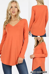 Long Sleeve V Neck Round Hem Top