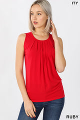 PLUS SIZE ITY SLEEVELESS FRONT NECK PLEAT TOP