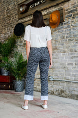 Mid Rise Relaxed Fit Leopard Print Jeans with Cuffed Hem