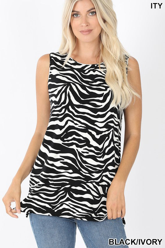 PLUS SIZE - ITY ZEBRA PRINT SLEEVELESS SIDE SLIT TOP