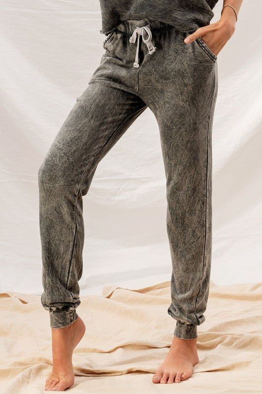 WASHED FRENCH TERRY TWO TONE JOGGERS