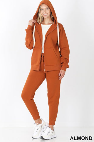 FLEECE ZIPPER HOODIE JACKET & JOGGER PANTS SET