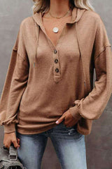 Simply Light Knit Long Sleeve Button Front Top