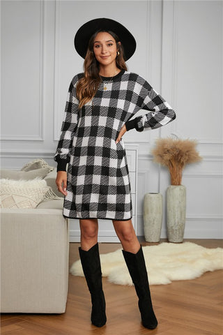 Black Gingham Balloon Sleeve Sweater Dress