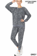 FRENCH TERRY LEOPARD PRINT RAGLAN SLEEVE PULLOVER & JOGGER PANTS WITH FREE MASK SET