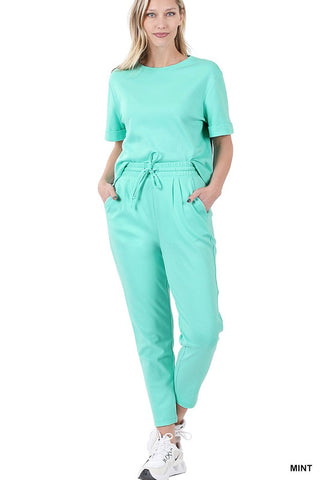 COTTON SHORT SLV TOP & ELASTIC WAISTBAND PANTS SET