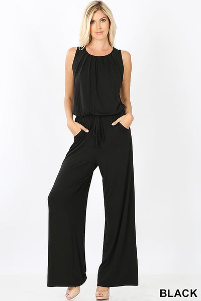 Sleeveless Jumpsuit with Pocket