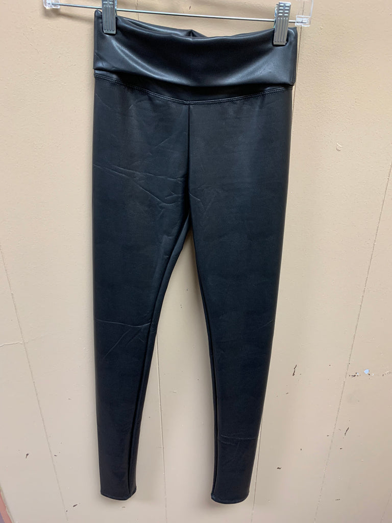 Black Faux Leather Pleggings