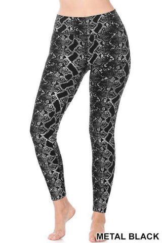 SNAKE PRINT FLEECE LEGGINGS