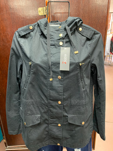 Black Military Anorak Jacket with Hood