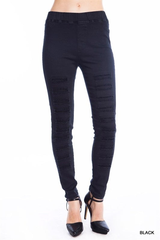 Distressed Jegging - multiple colors