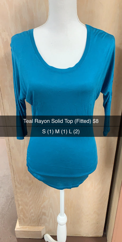 Teal Rayon Solid Top