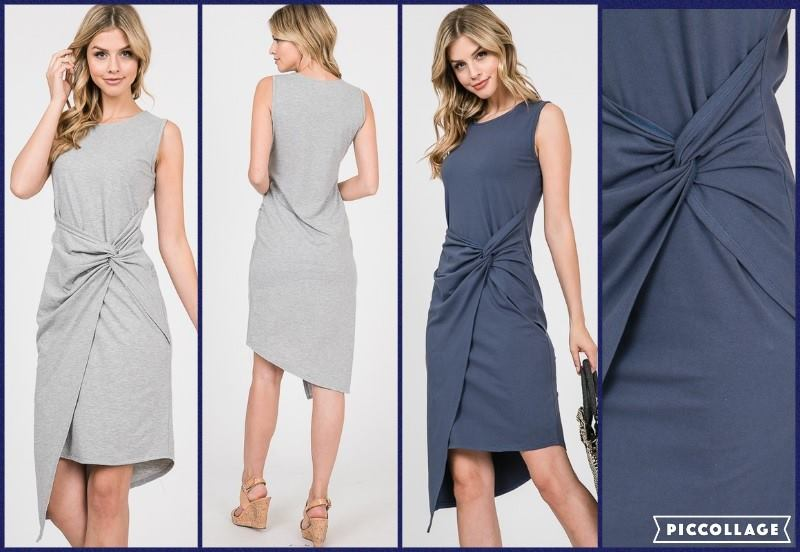 Jersey Round Neck Sleeveless Side Knot Dress