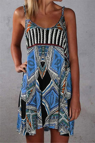 Multicolor Spaghetti Strap Boho Mini Dress