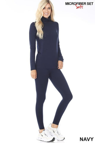 Navy Long Sleeve Brushed DTY Loungewear Set