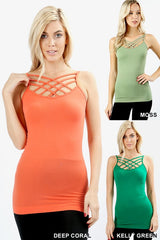 Seamless Triple Criss-Cross Front Cami -multiple colors available