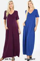 V-NECK SHORT SLEEVE MAXI DRESS WITH SIDE POCKETS