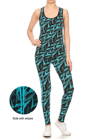 Blue Jacquard Seamless Activewear Set