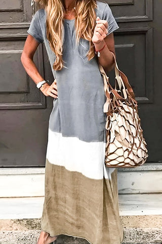 Short Sleeve Round Neck Tie-Dyed Tiered Maxi Dress